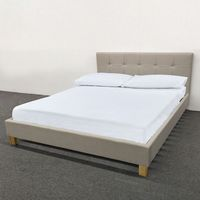 Double bed, Cream fabric- with Wooden feet
